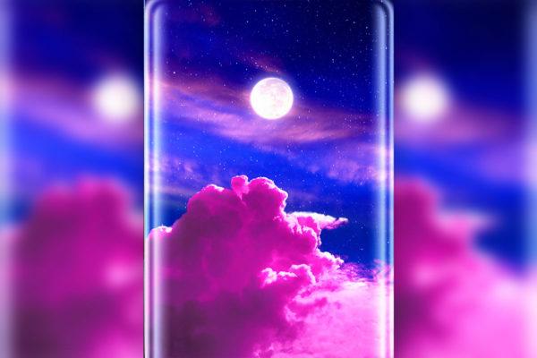 壁纸图片粉红色天空美景曲屏psd素材