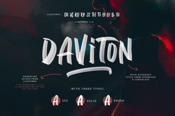 装饰字体设计创意手写艺术英文 Daviton SVG – Freestyle Font