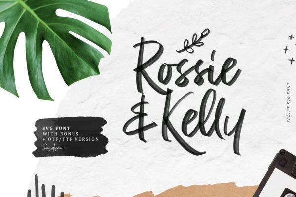 马克笔风格清新自然手写字体设计 Rossie Kelly – SVG Font