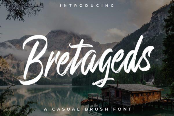 高级毛笔顺滑质感笔触手写字体设计 Bretageds Brush Font