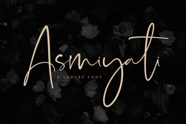 豪华精美高端轻奢丝绸质手写字体 Asmiyati | A Luxury Script Font