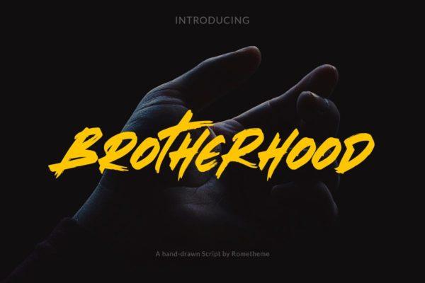 粗犷手绘毛笔现代时尚手写字体 Brotherhood – Brush Script Font