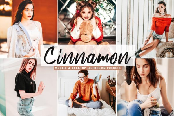 红色滤镜圣诞节日Lightroom预设合集 Cinnamon Mobile & Desktop Lightroom Presets