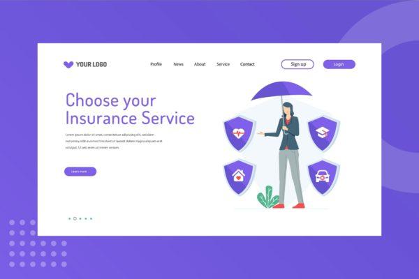 网站设计保险服务主题插画模板 Choose your Insurance Service Landing Page