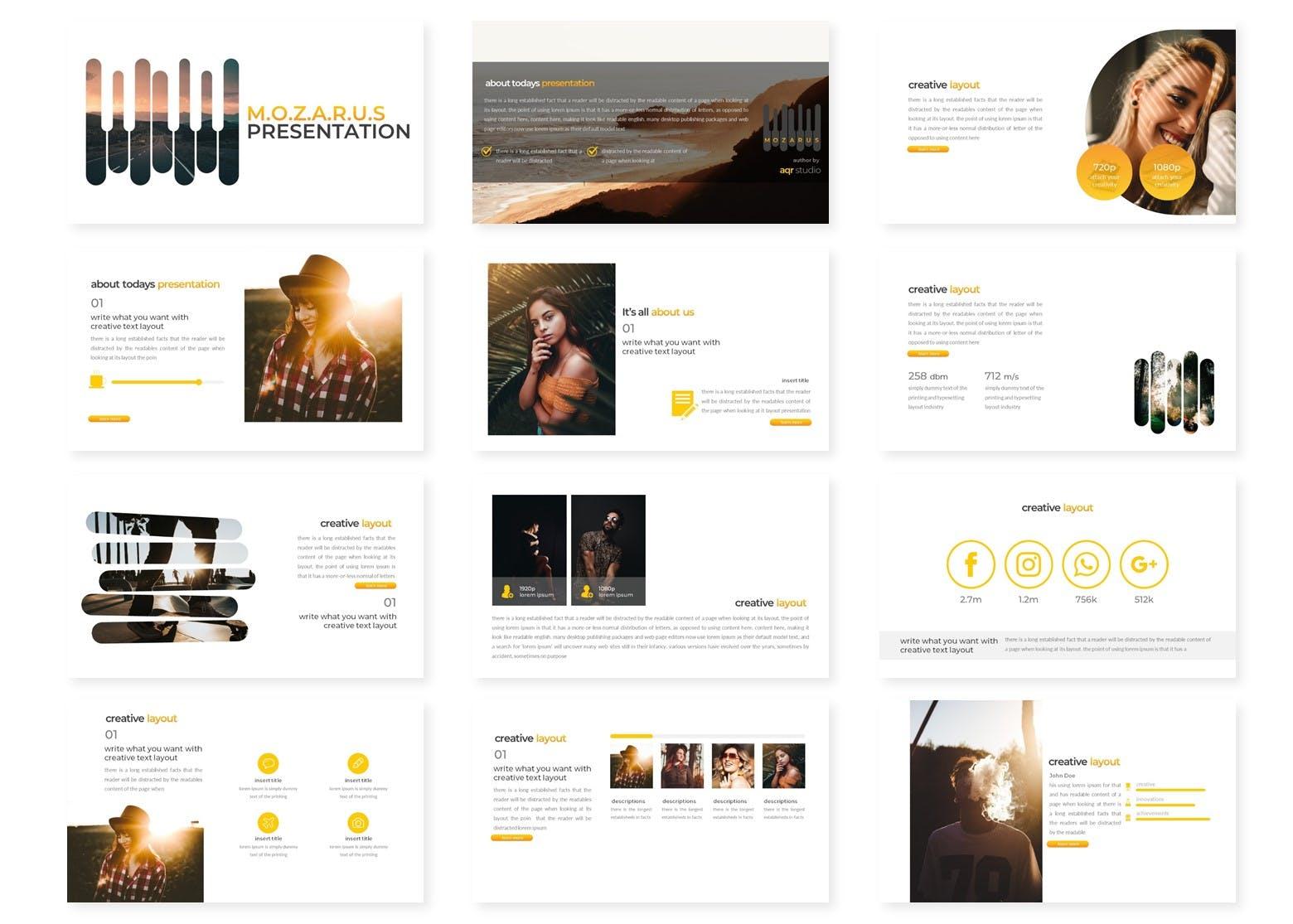 Google幻灯片创意排版设计时尚模板素材 Mozarus – Google Slides Template设计素材模板