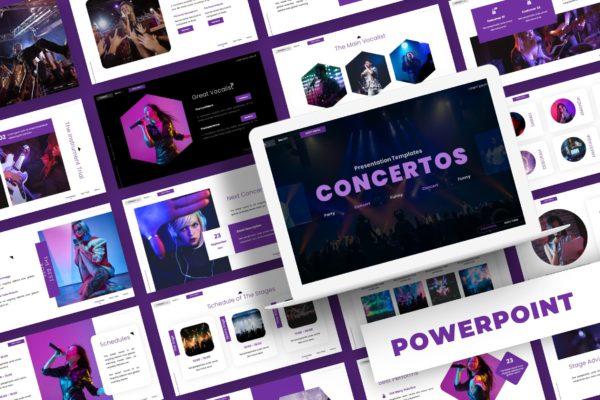 演唱会音乐主题PPT设计模板 Concertos – Powerpoint Template