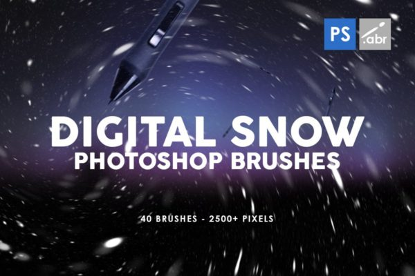 Photoshop笔刷雪景数码照片装饰 Digital Snow Photoshop Brushes