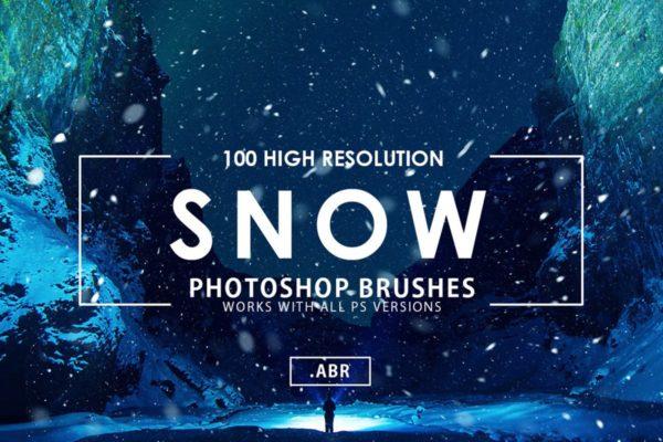 100种飘雪特效落雪PS笔刷 100 Snow Photoshop Brushes
