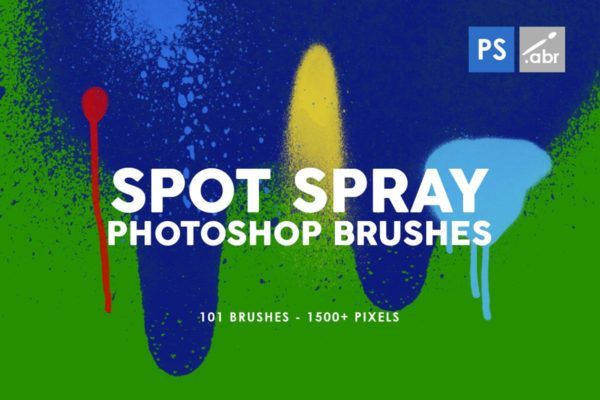 油漆斑点喷雾Photoshop印章笔刷 101 Spot&Blob Spray Photoshop Stamp Brushes