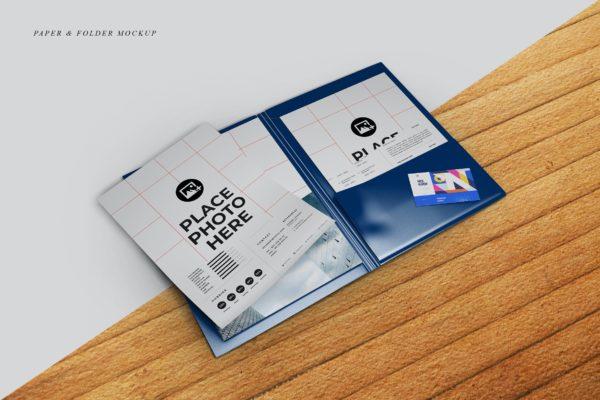 纸张&文件夹企业文具样机 Folder & Paper Mockup