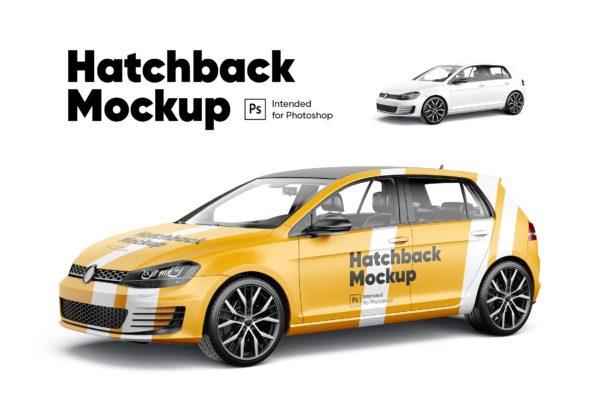 车身广告两厢车设计样机 Hatchback Mockup