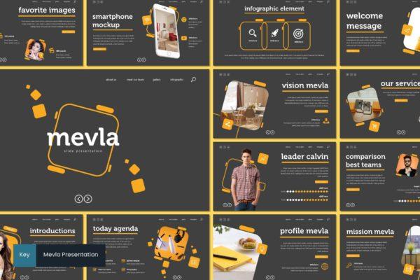 产品展示智能手表样式Keynote幻灯片设计模板 Mevla – Keynote Template