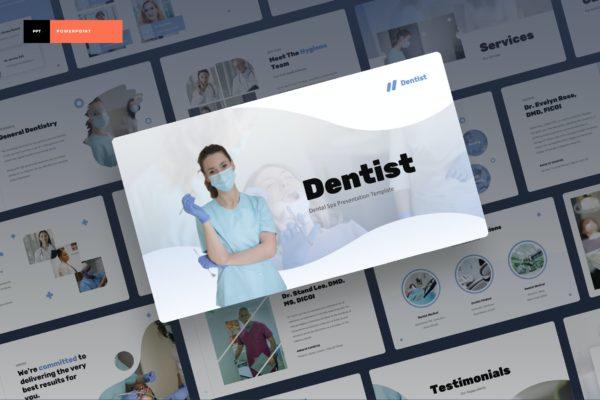 清爽简洁高端干净牙医牙科水疗能源PPT模板 Dentist – Dental Spa Power Point Presentation