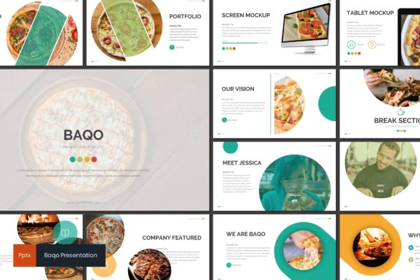 幻灯片模板美食展示PowerPoint下载 Baqo – Food Powerpoint Template