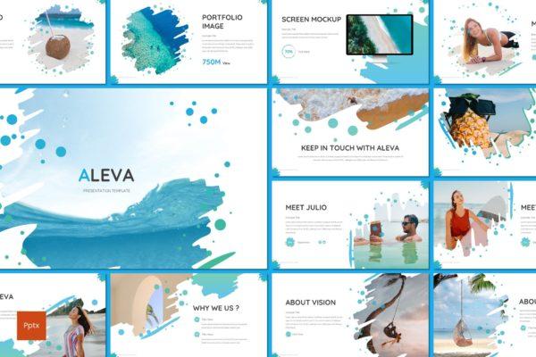 PowerPoint幻灯片模板独特海洋元素 Aleva – Beach Powerpoint Template