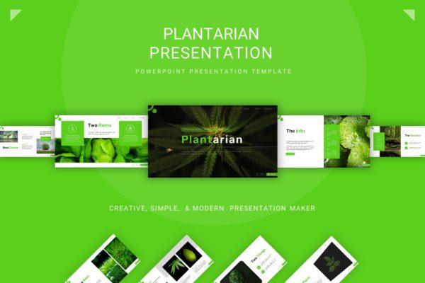 绿植背景干净清新舒适风PPT模板 Plantarian Presentation