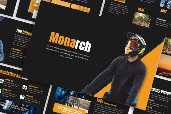 PPT幻灯片设计演示模板山地车活动主题 Monarch – Business Template Prensentation