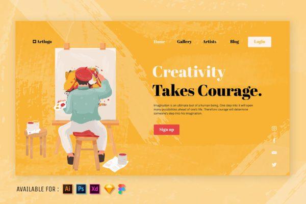 Web网站设计创造艺术主题矢量插画 The Art of Creativity – Web Illustration