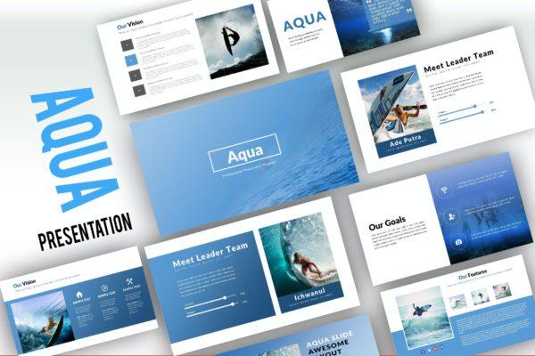 极限运动冲浪主题演示PPT模板 Aqua Creative Powerpoint