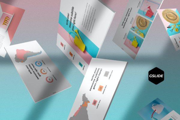 谷歌幻灯片创意作品集展示演示模板 TutiFruti – Google Slides Template