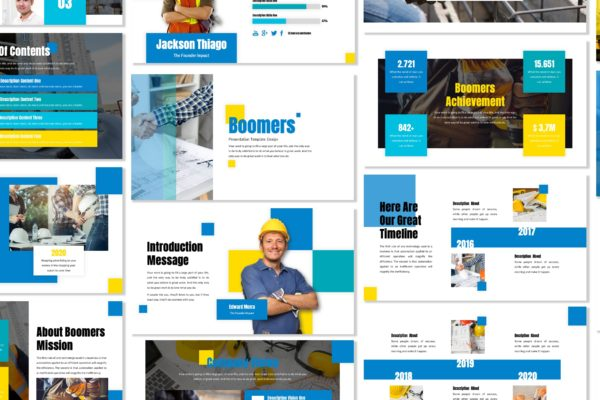 演示PPT建筑项目设计模板 Boomers – Business Template Prensentation
