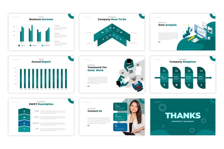极简风精英会议背景PPT模板 Porchio Property Business设计素材模板