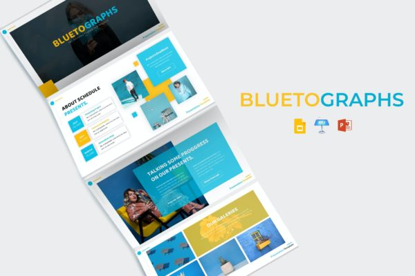 简洁经典蓝黄色系列PPT模板 Bluetographs – PowerPoint Template