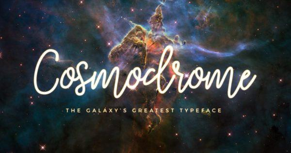 唯美单线脚本手写字体宇宙星辰字体设计 Cosmodrome Monoline Script Font