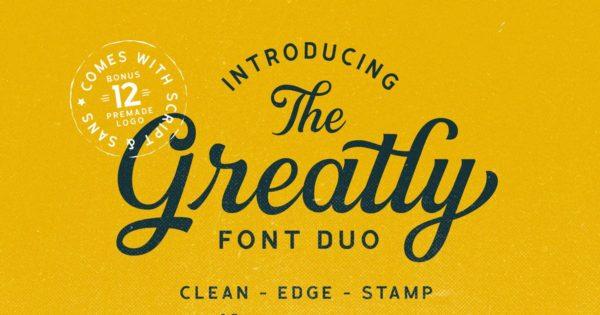 无衬线字体组合&经典脚本 + Logo模板 Greatly Font Duo + Logo Templates