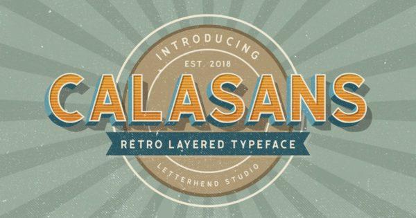 分层复古3D特效海报设计无衬线字体 Calasans – 7 layered fonts