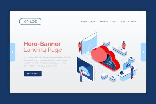 主题网站云数据管理Banner图设计PSD模板 Krilos – Hero Banner Template