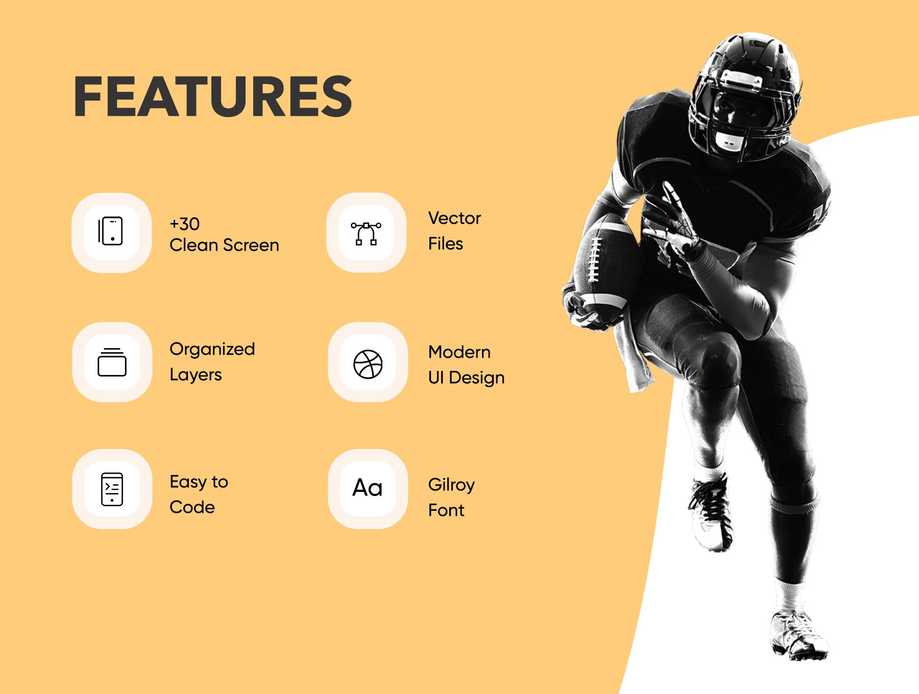 资讯类APP体育运动 UI KIT设计素材模板
