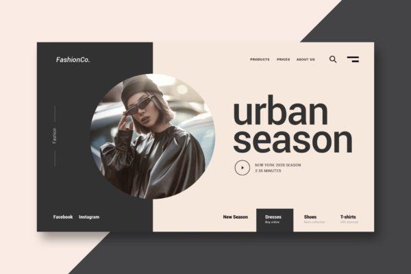 网站设计时尚服装矢量模板 Fashion and Clothing – Landing Page