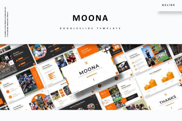 谷歌幻灯片素材美式橄榄球主题 Moona – Google Slides Template
