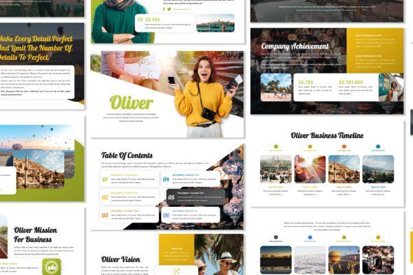 PPT幻灯片演示旅行推广主题模板下载 Oliver – Business Template Prensentation