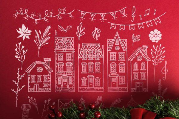 圣诞节矢量插画素材包 95 Winter & Christmas Illustrations