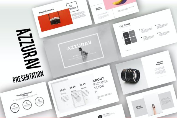 幻灯片演示PPT模板创意摄影作品集 Azzurav Creative Powerpoint