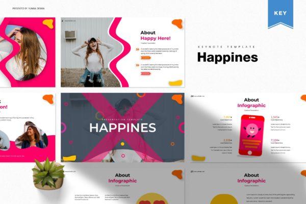 Keynote幻灯片生活快乐主题设计模板 Happines | Keynote Template