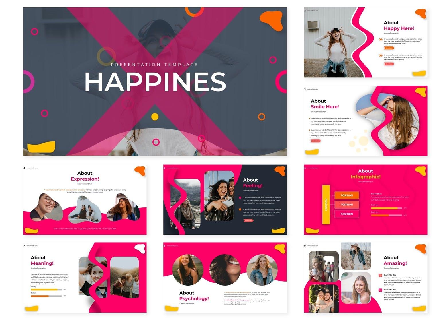 Keynote幻灯片生活快乐主题设计模板 Happines | Keynote Template设计素材模板