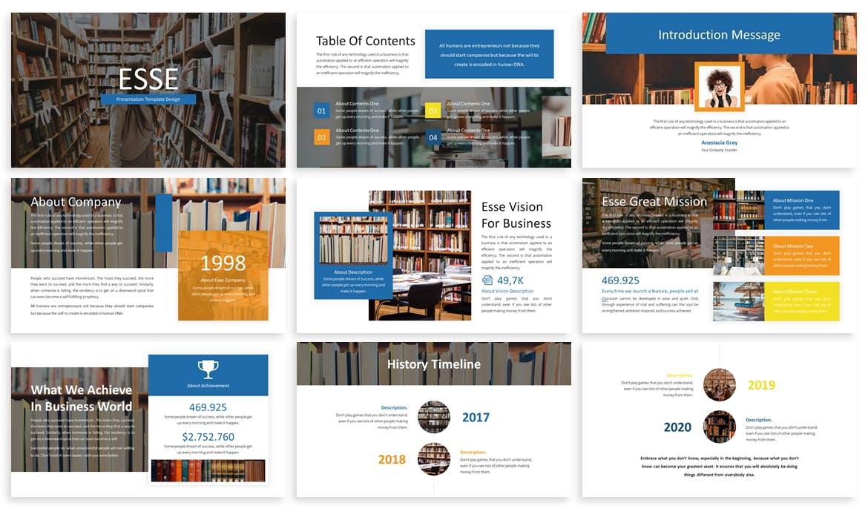 演示模板下载图书馆介绍PPT Esse – Business Template Prensentation设计素材模板