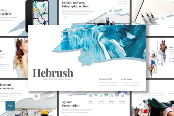 Keynote演示文稿绘画笔刷主题 Hebrush – Keynote Template