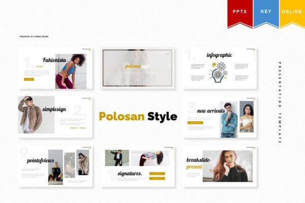 Keynote/服装品牌PPT/谷歌幻灯片三合一模板 Polosan Style | Powerpoint, Keynote, Googleslide