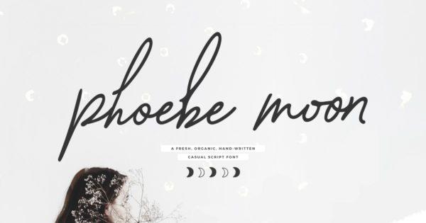 手绘装饰手写字体随心清新脚本 Phoebe Moon Script Font
